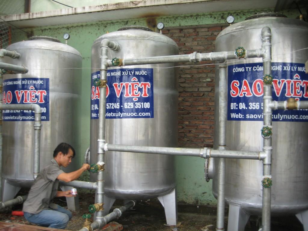 Bố trí vật liệu trong thiết bị xử lý nước giếng khoan